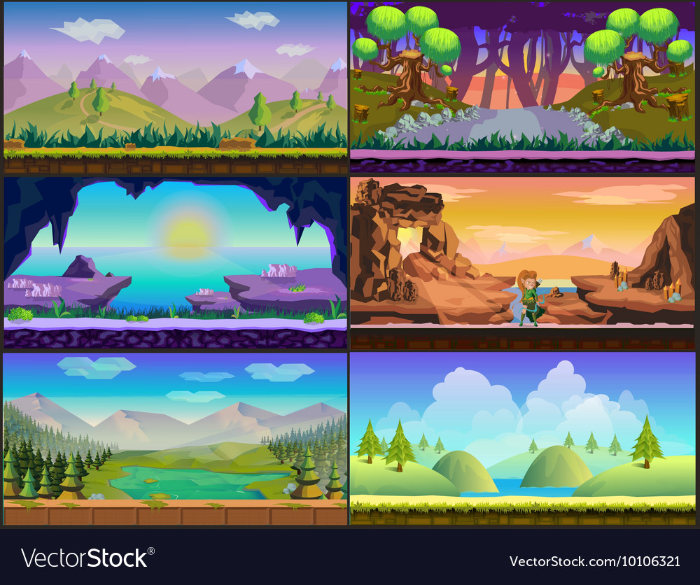 Cartoon game design nature landscape set vector