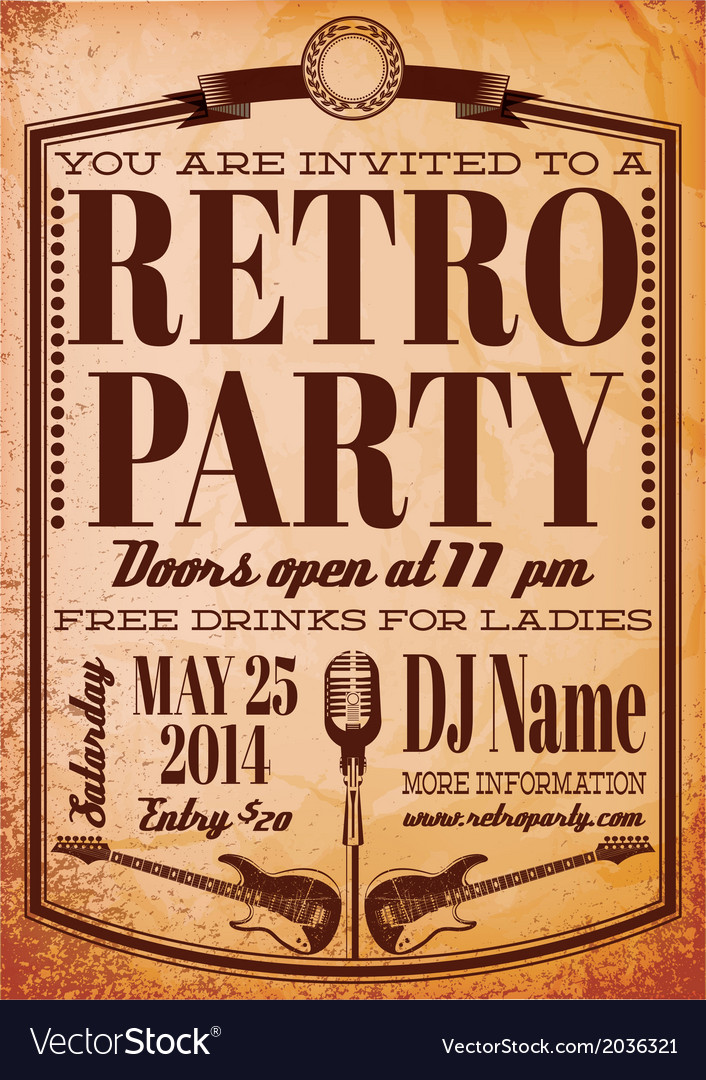 Template for a retro party concert events vector