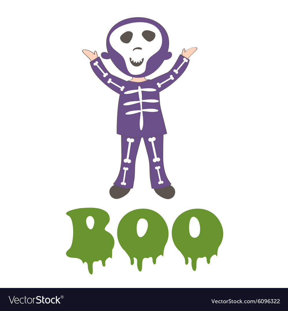 Boocard with a boy dressed like skeleton vector