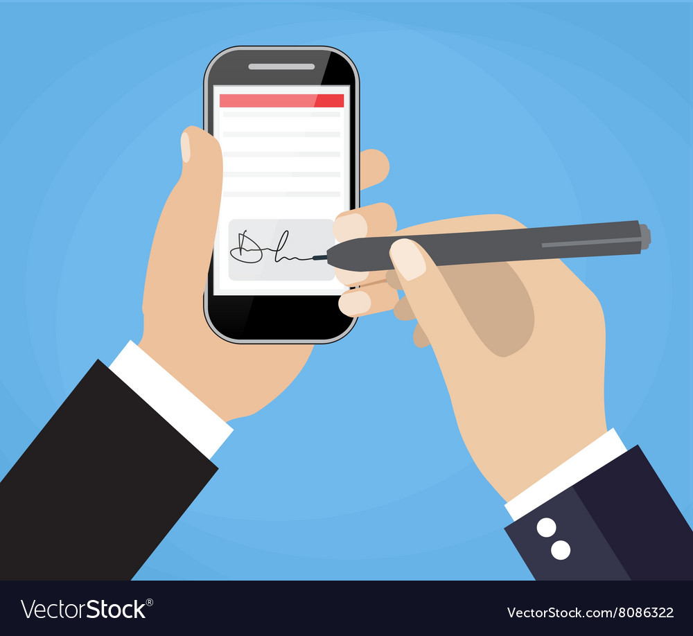 Digital signature on tablet vector