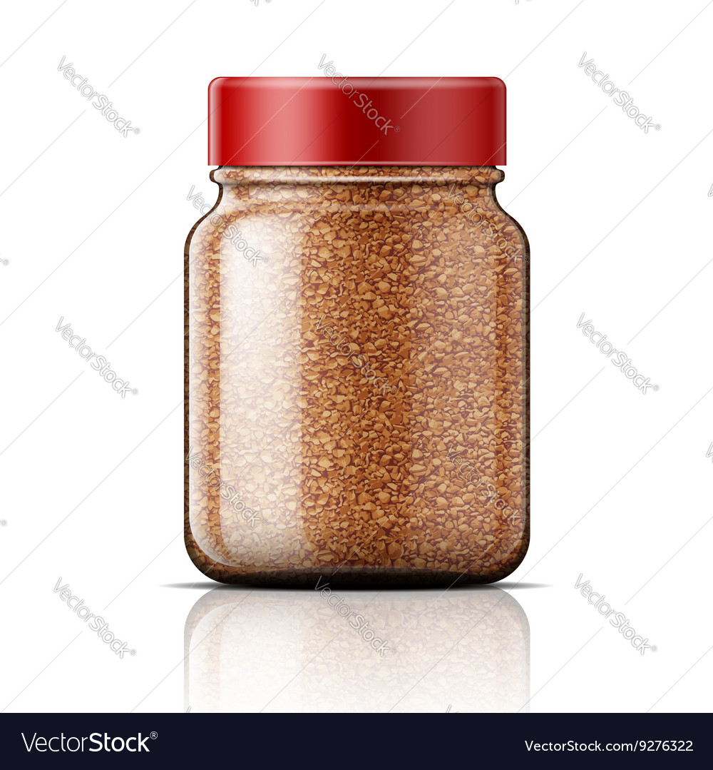 Glass jar with instant coffee vector