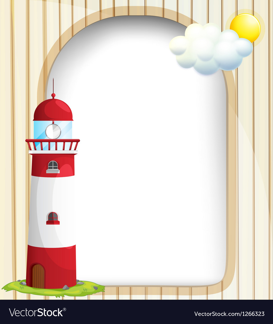 An empty template with a sun and a lighthouse vector