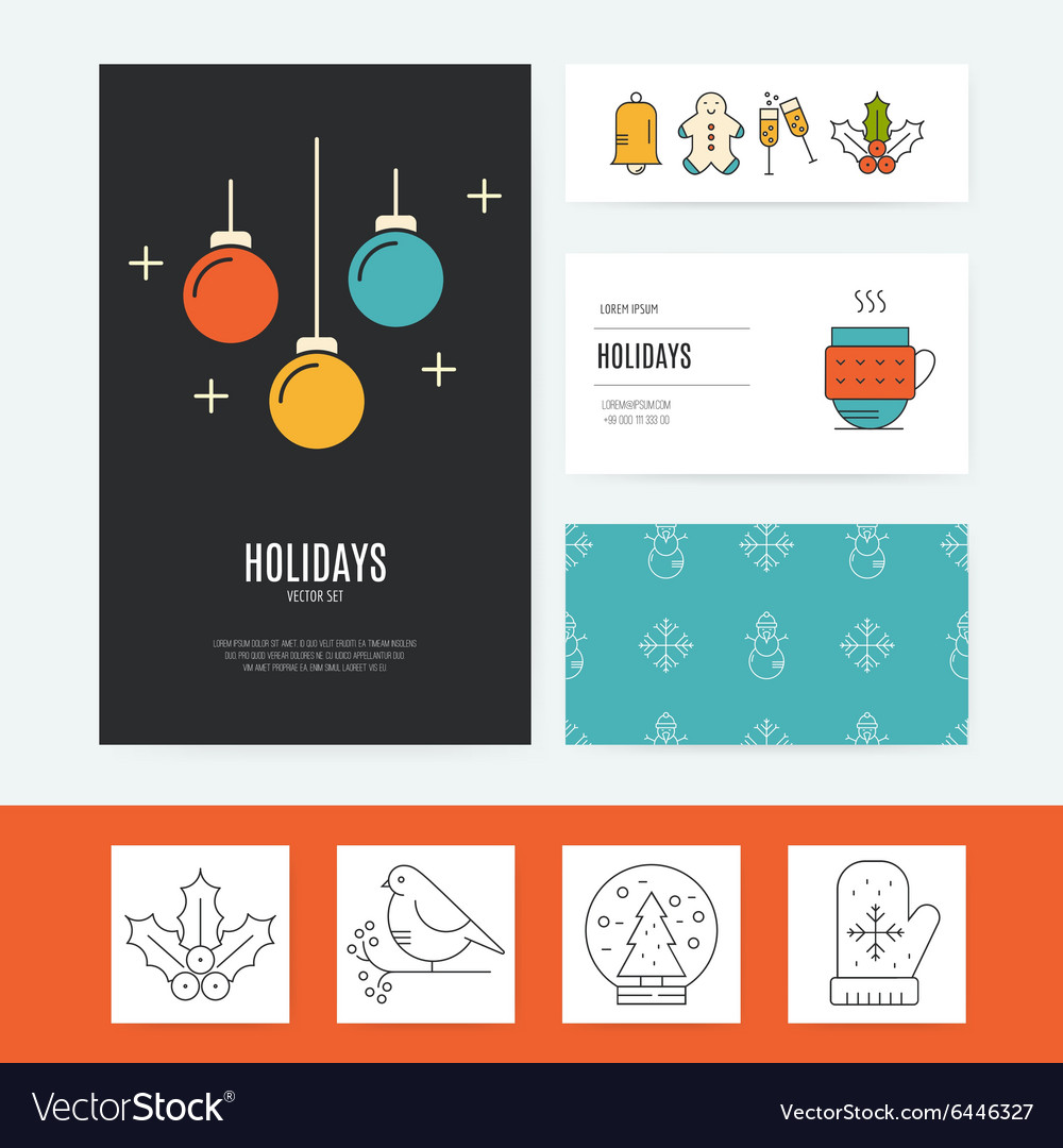 Christmas business set vector