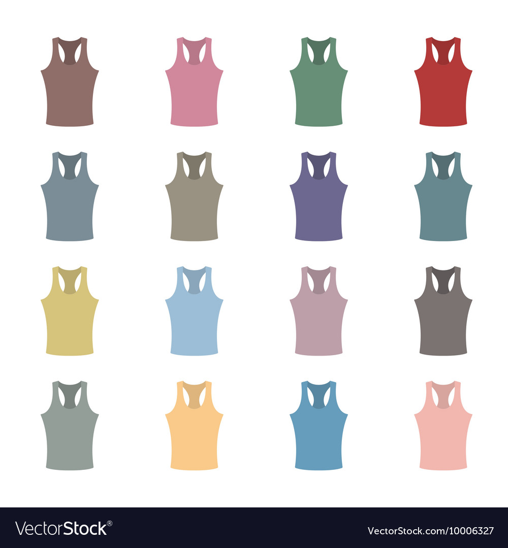 Set of colored tank top vector