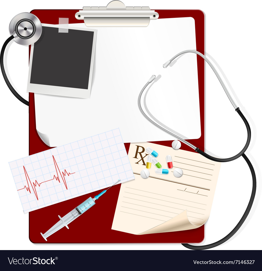 Stethoscope on medical clipboard vector