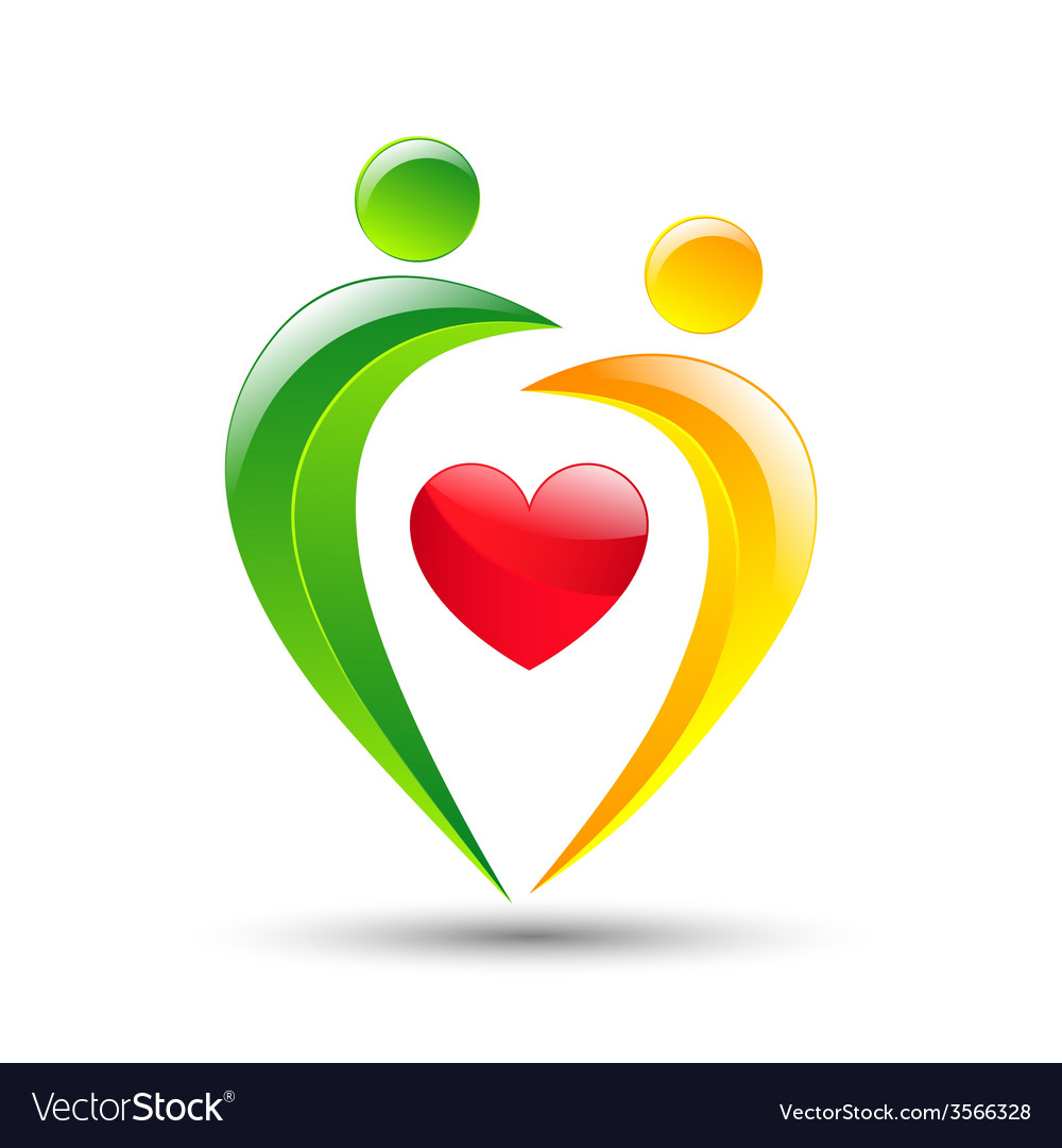 Abstract colorful people and heart icon vector