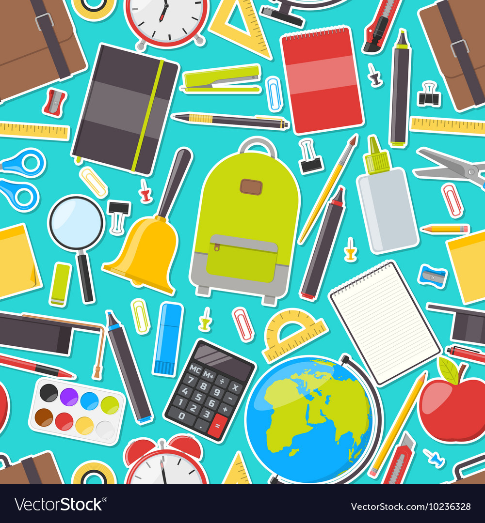 Seamless pattern of school supplies vector