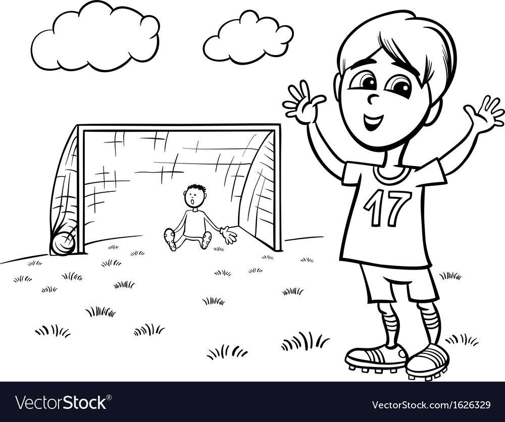 Boy playing soccer coloring page vector