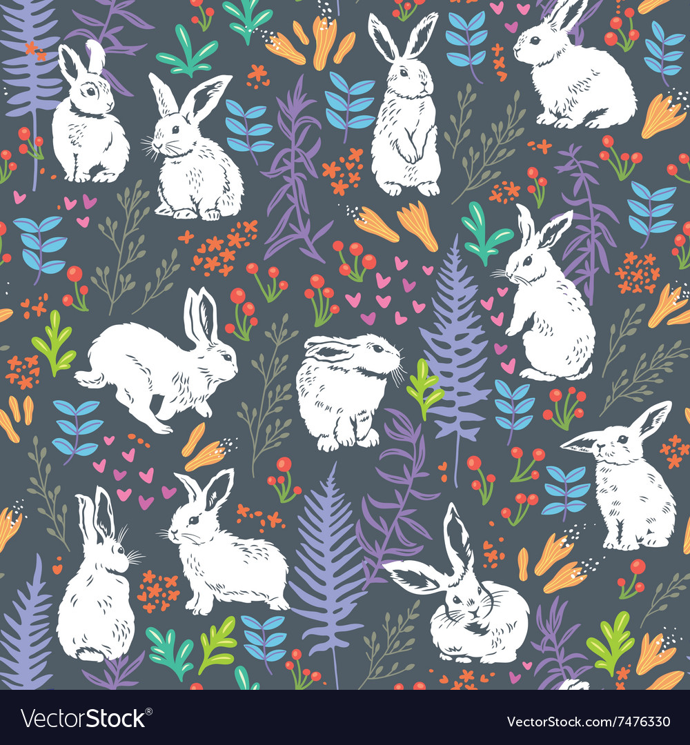 Floral pattern with white bunnies vector