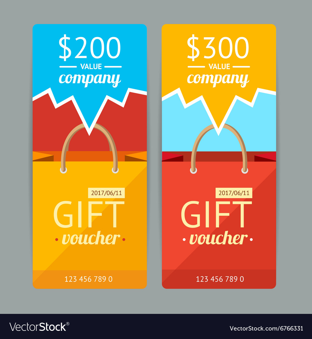 Modern gift voucher with paper bag vector