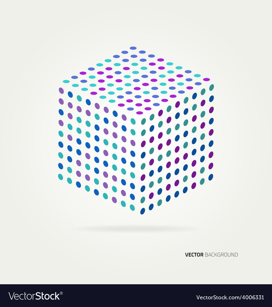 Threedimensional cube of colored dots vector