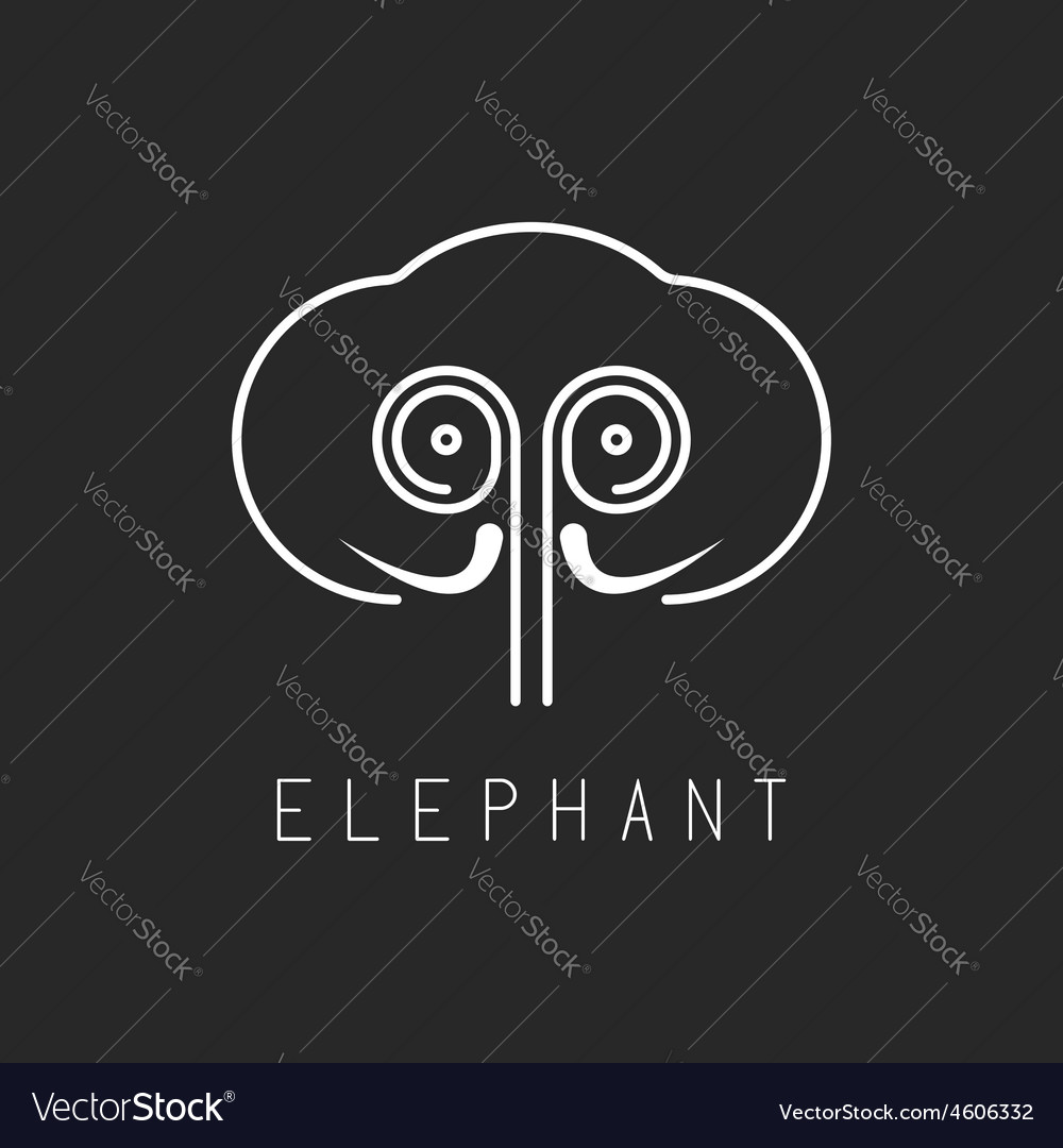 Elephant mockup logo abstract geometric silhouette vector