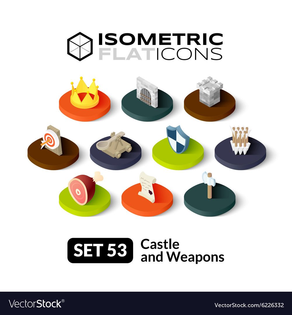 Isometric flat icons set 53 vector