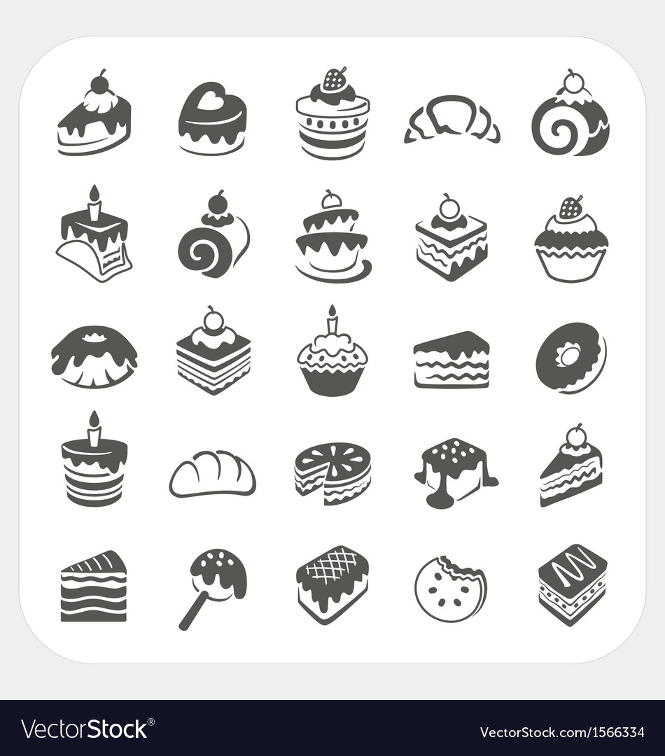Cakes and dessert icons set vector