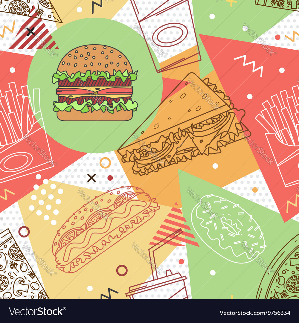 Fast food seamless pattern trendy geometric vector