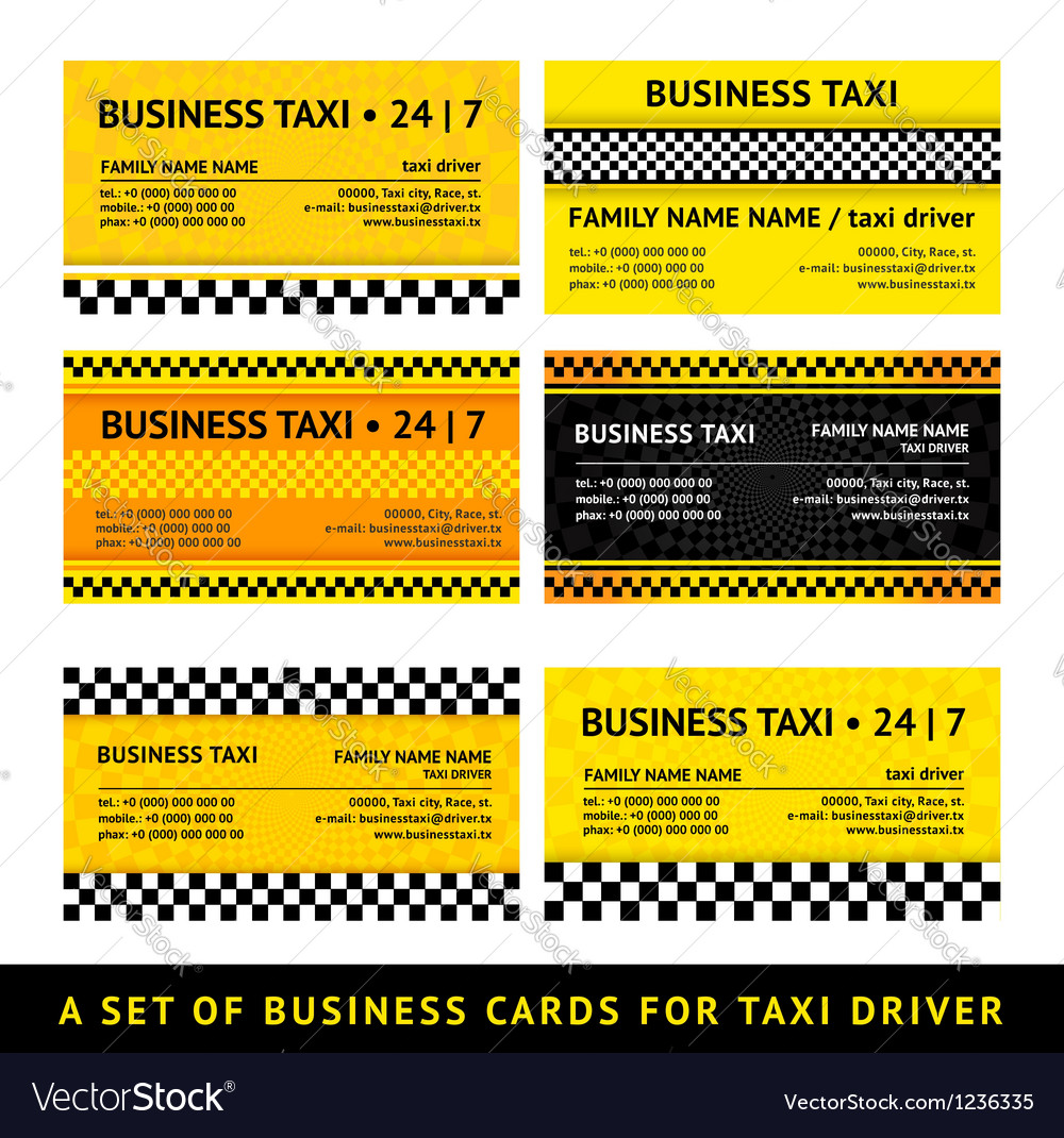 Business card taxi  seventh set vector
