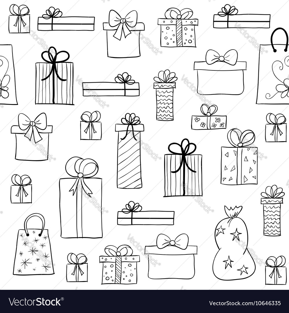 Christmas pattern with hand drawn gift boxes vector