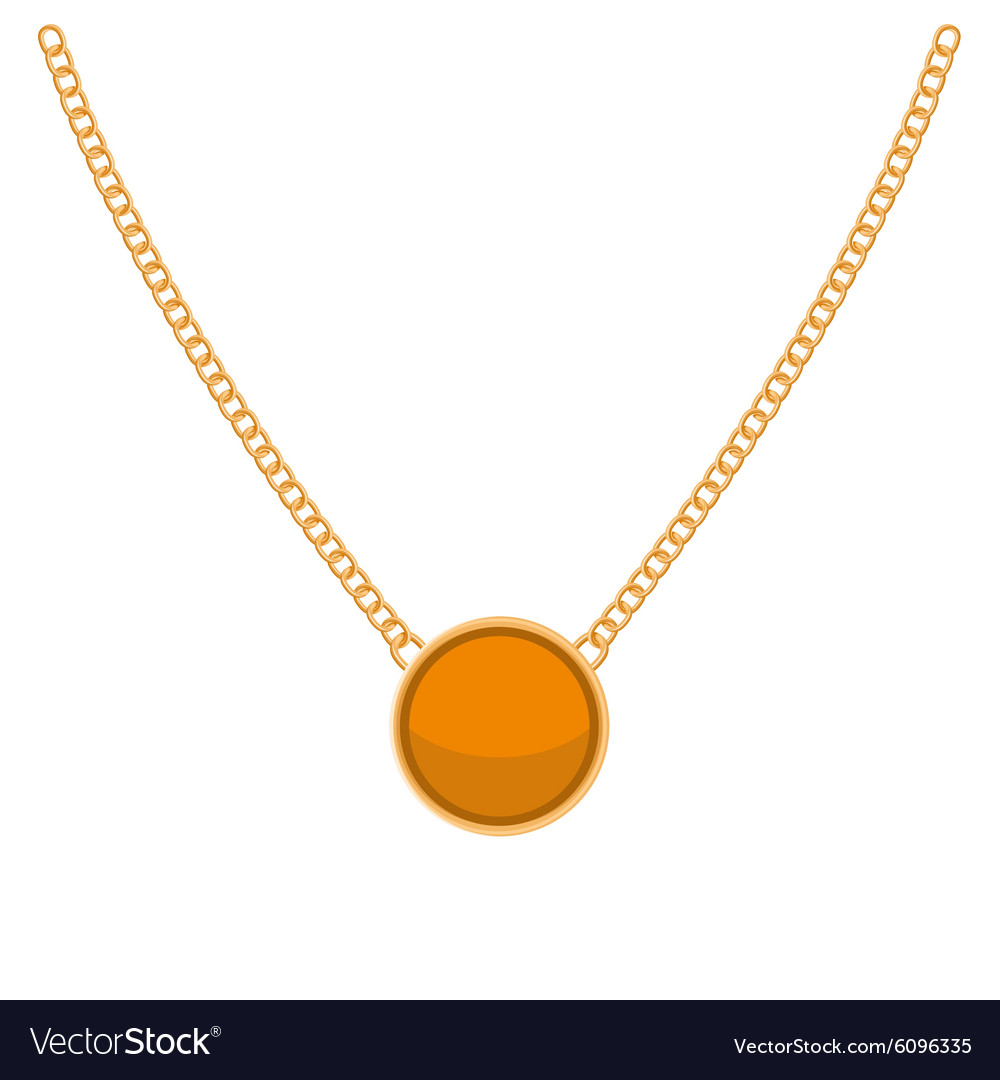 Golden chain with gold blank precious necklaces vector
