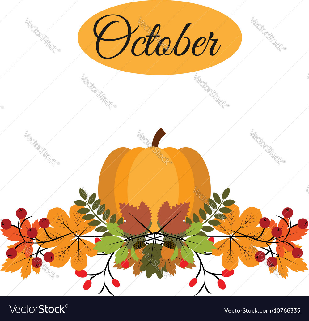 October banner with pumpkin autumn leaves and vector