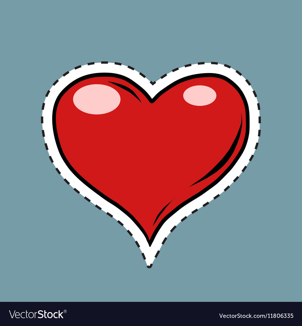 Red heart valentine pop art retro label sticker vector