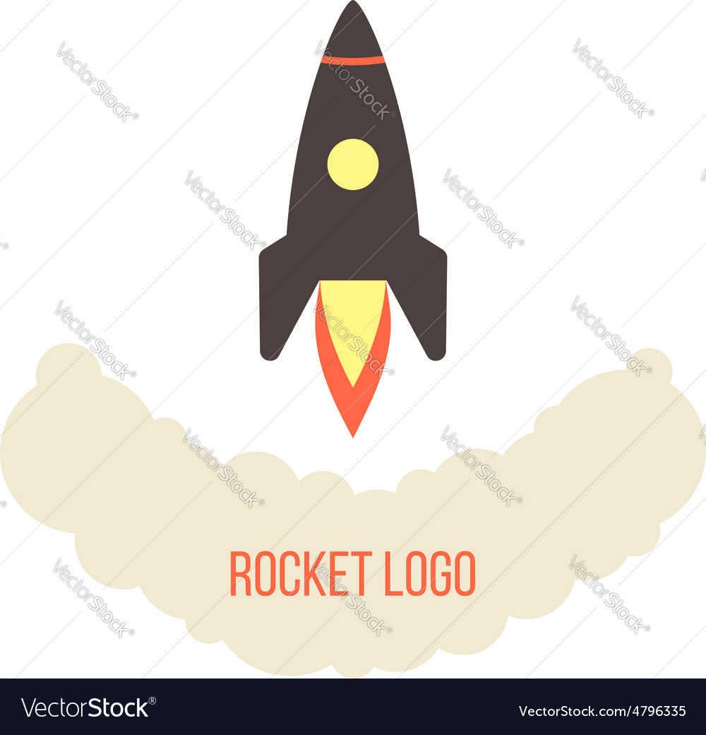 Rocket launch logo isolated on white background vector