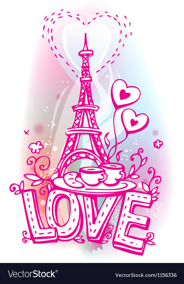 Eiffel tower coffee and croissant vector