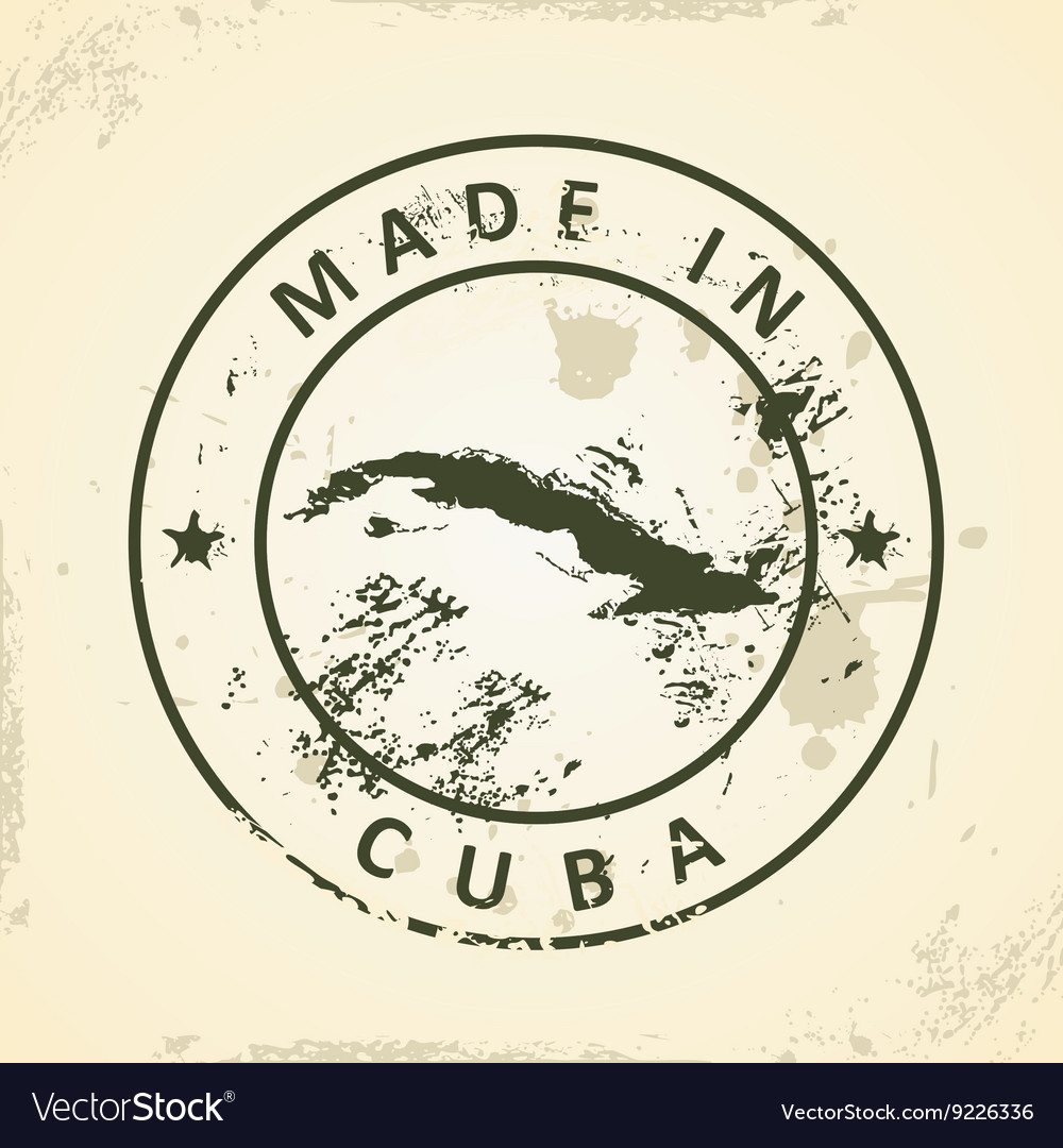 Stamp with map of cuba vector