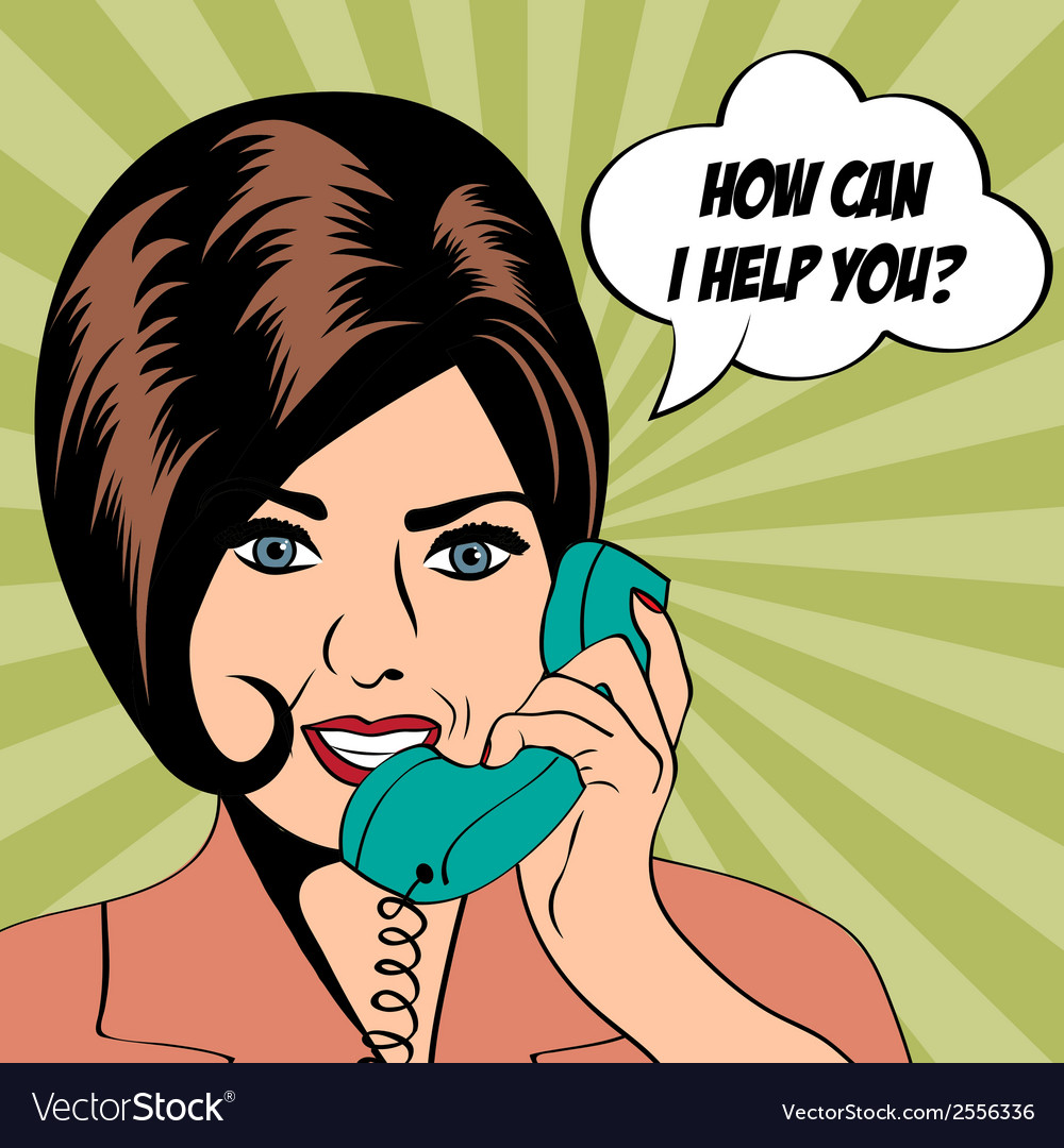 Woman chatting on the phone pop art vector