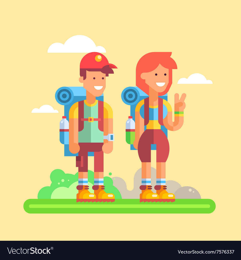 2 young hikers guy and girl with large backpacks vector