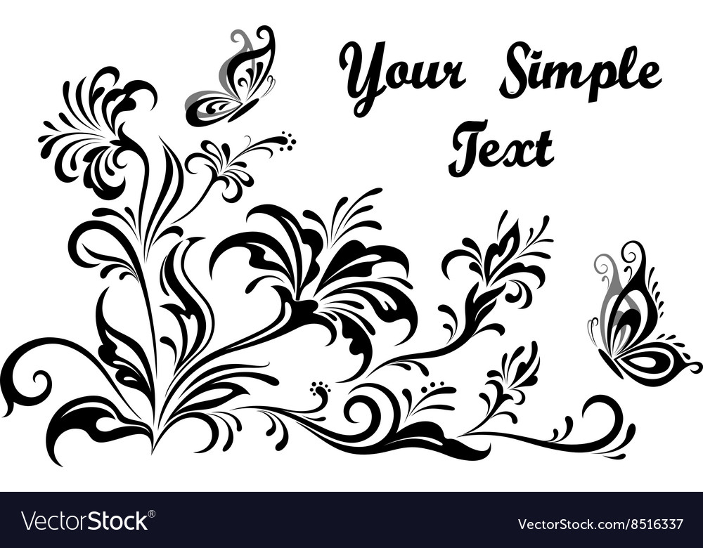 Floral patterns and butterflies contours vector