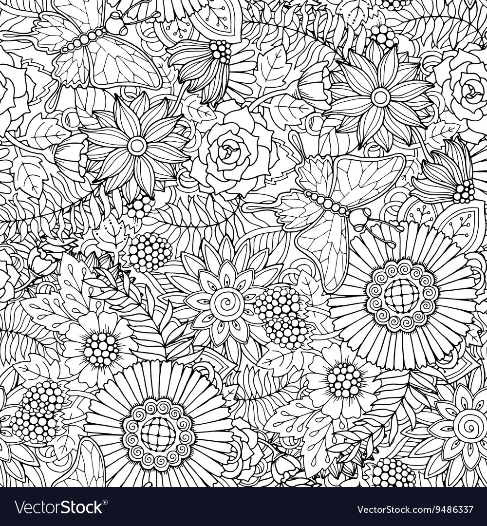 Seamless pattern with flowers and butterfly vector