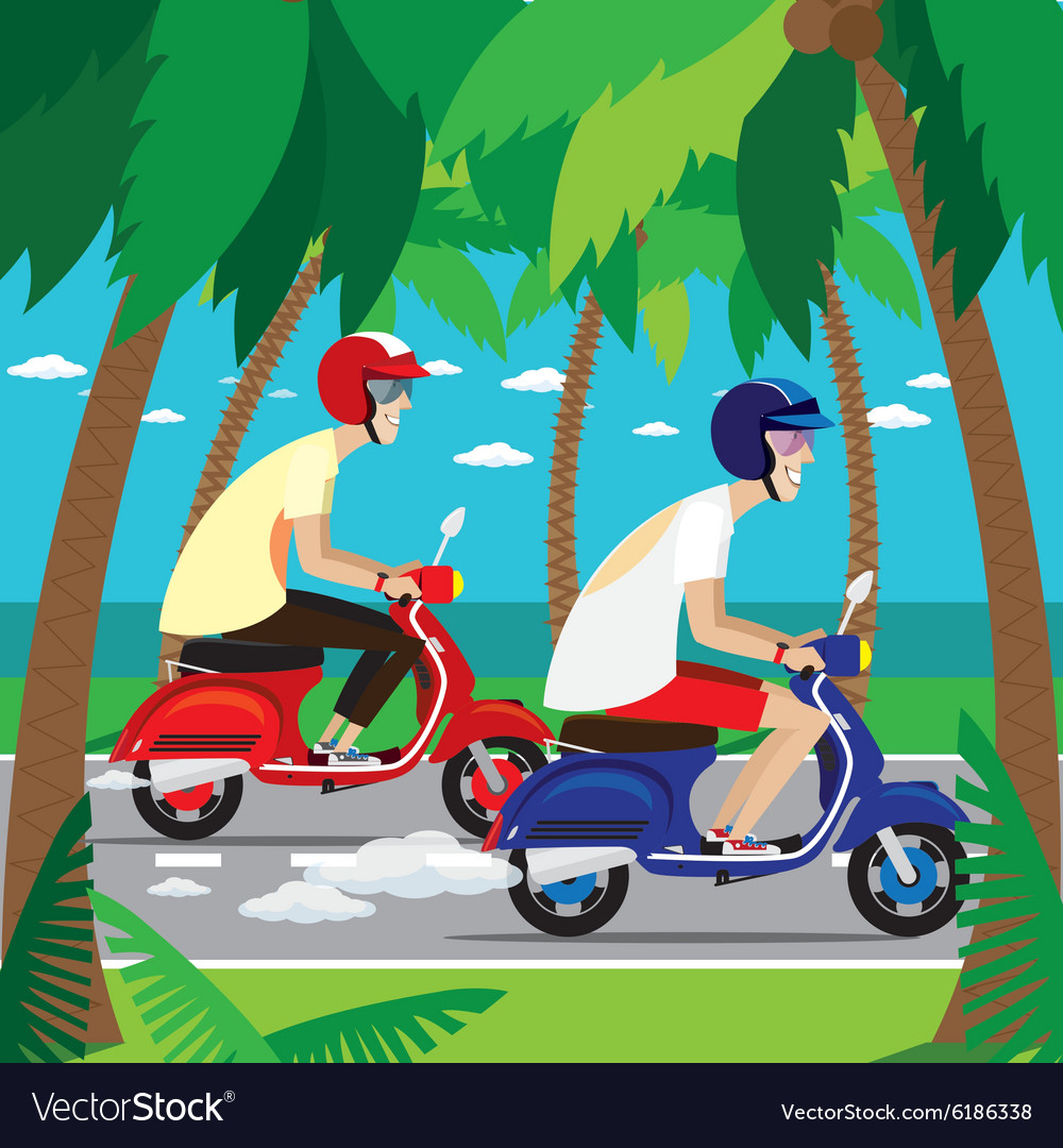 Motorcyclists on the retro scooters vector