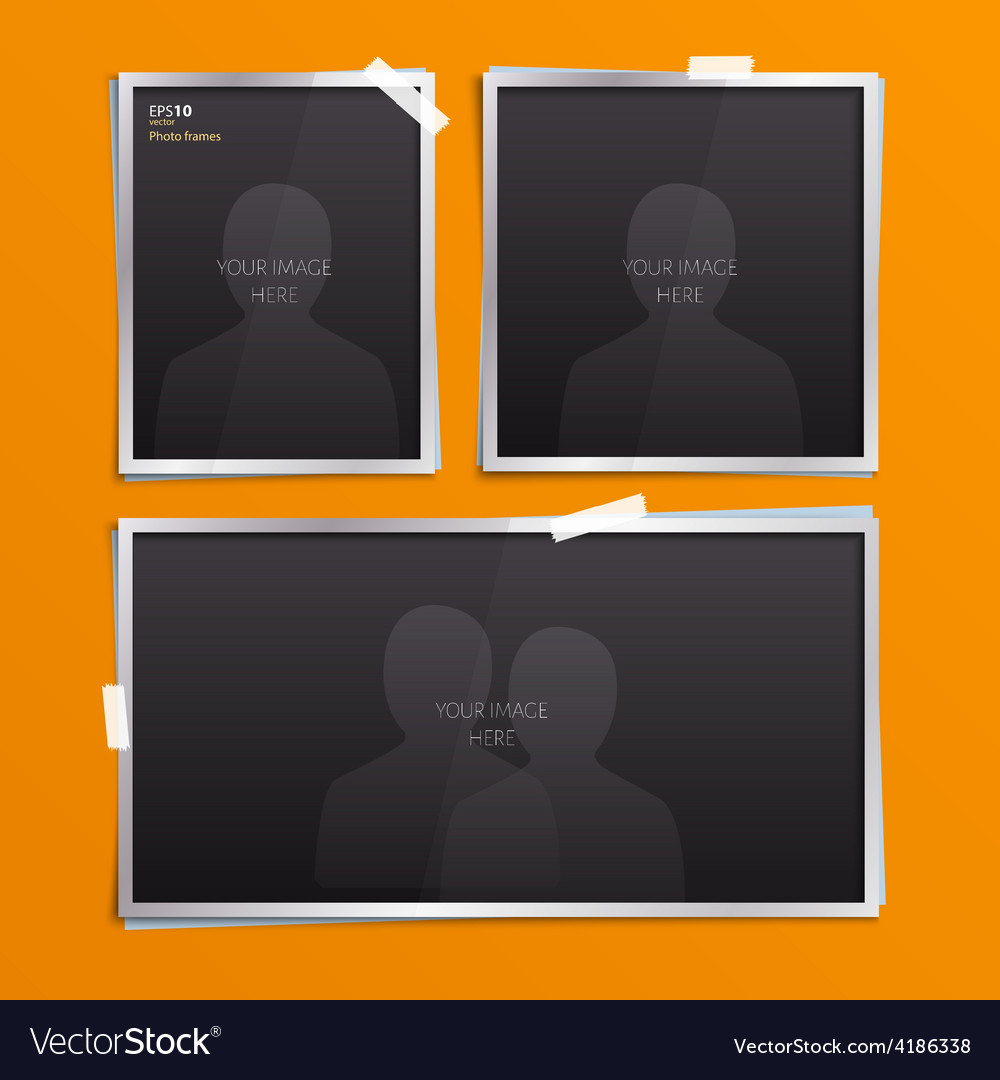 Set of empty photo frames vector