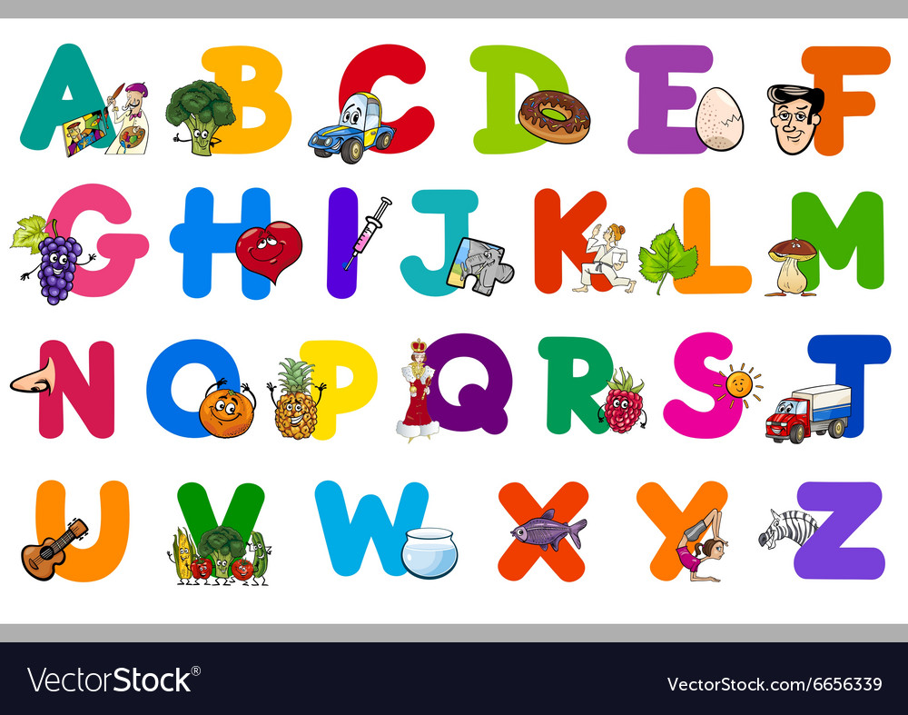 Cartoon alphabet for children vector