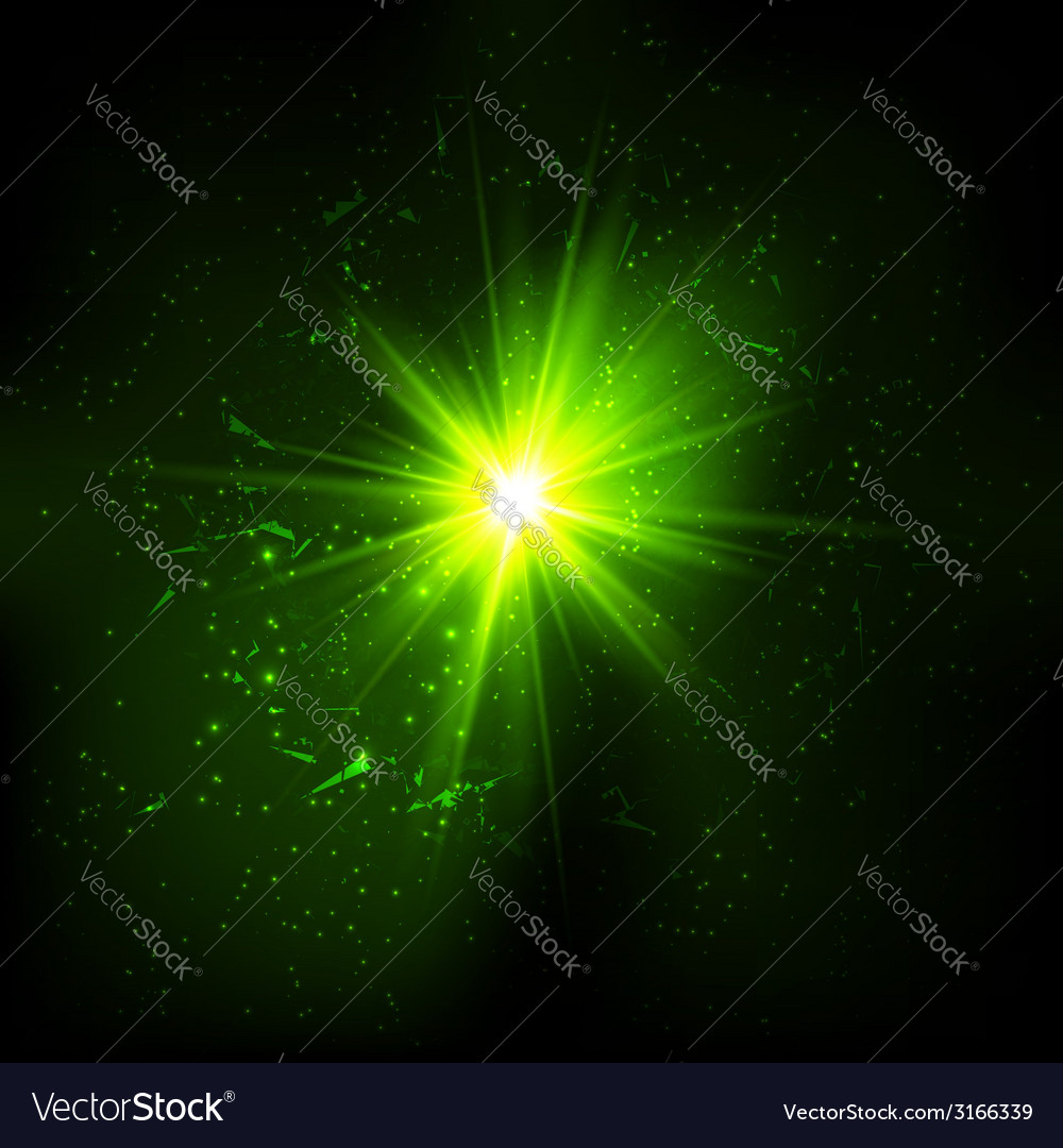 Dark green space explosion vector