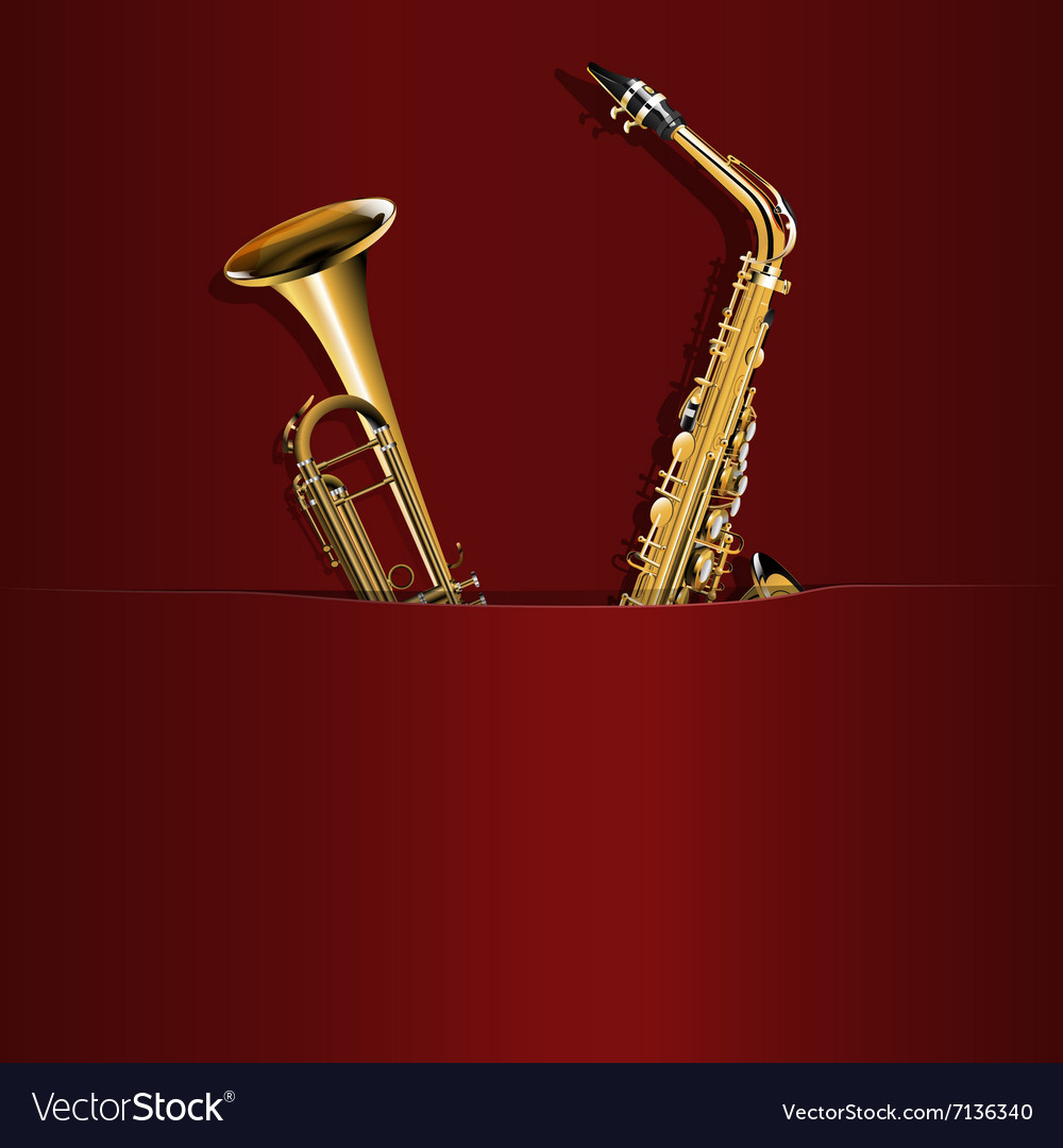 Saxophone and trumpet in your pocket vector