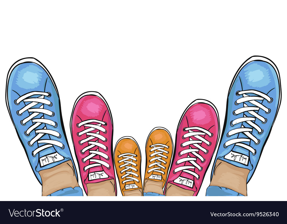 Summer trendy sports shoes familyrun collection vector