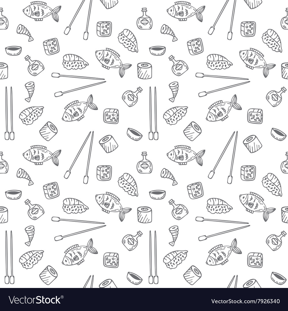 Sushi and rolls seamless pattern sushi texture vector