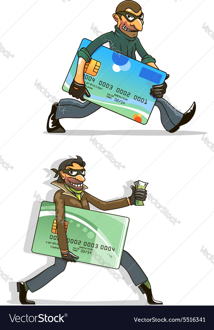 Cartoon thieves with stolen credit cards and money vector