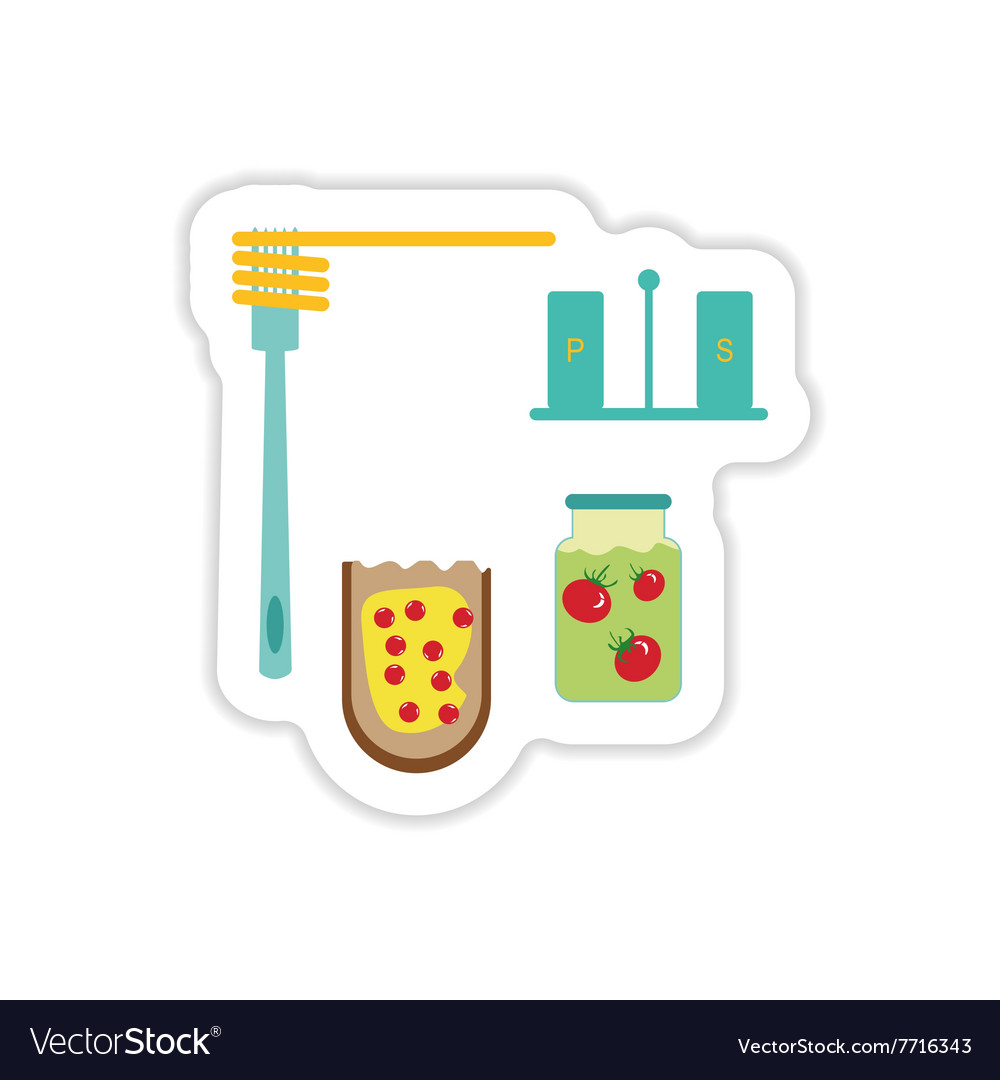 Set of paper stickers on a white background food vector