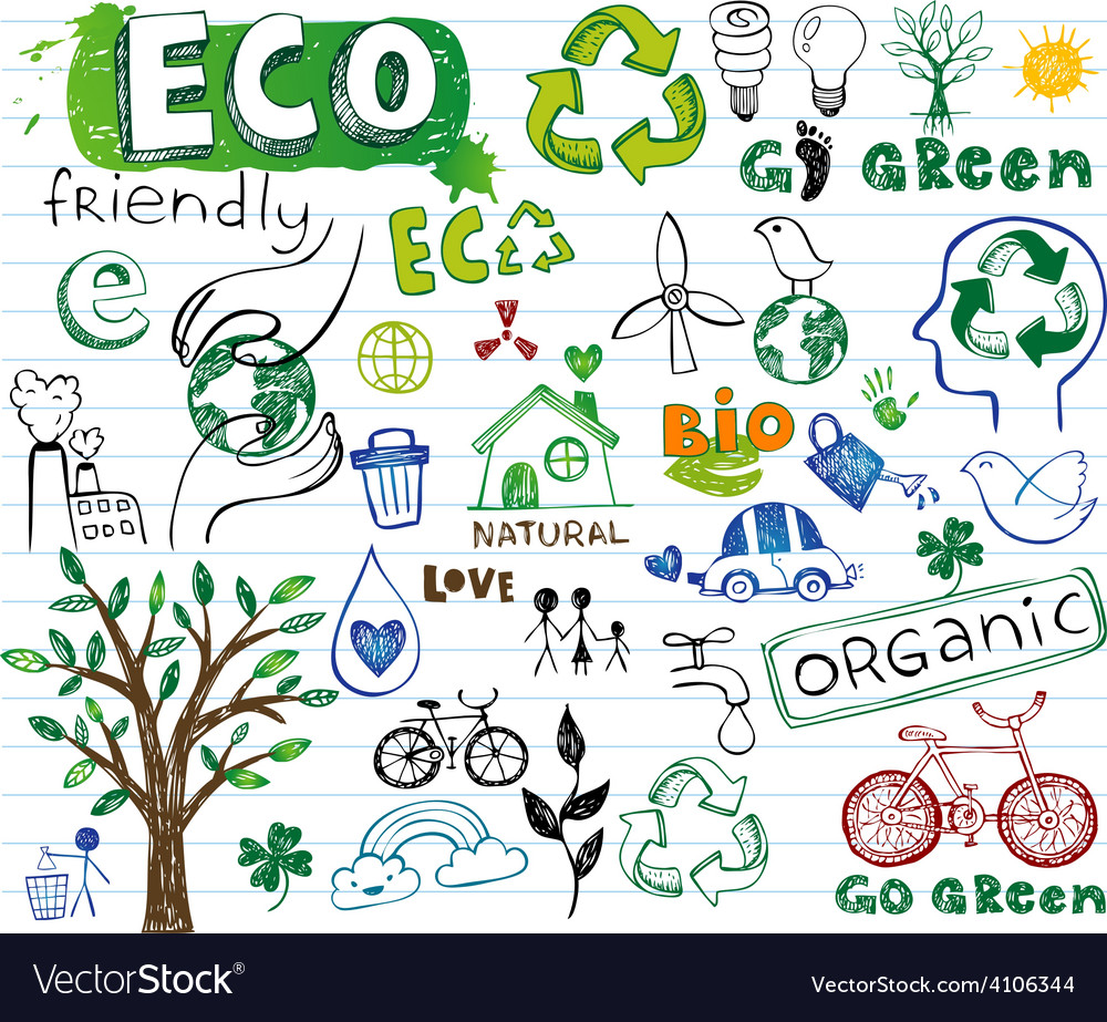 Ecology drawings vector