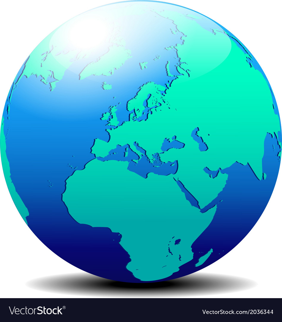 Europe globe world vector