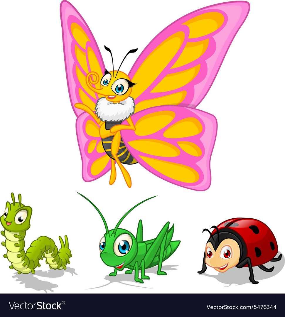 Insect cartoon character pack one vector