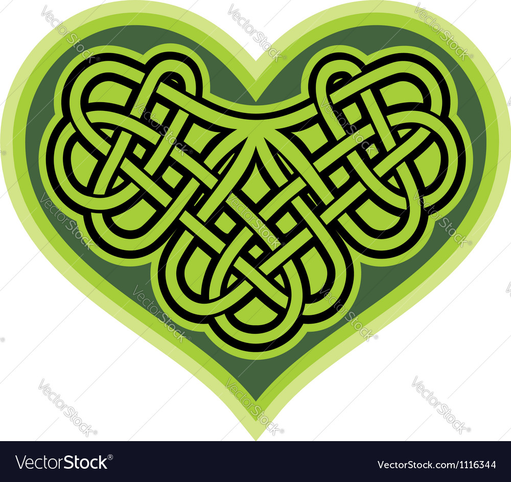 Shamrock heart celtic symbol vector