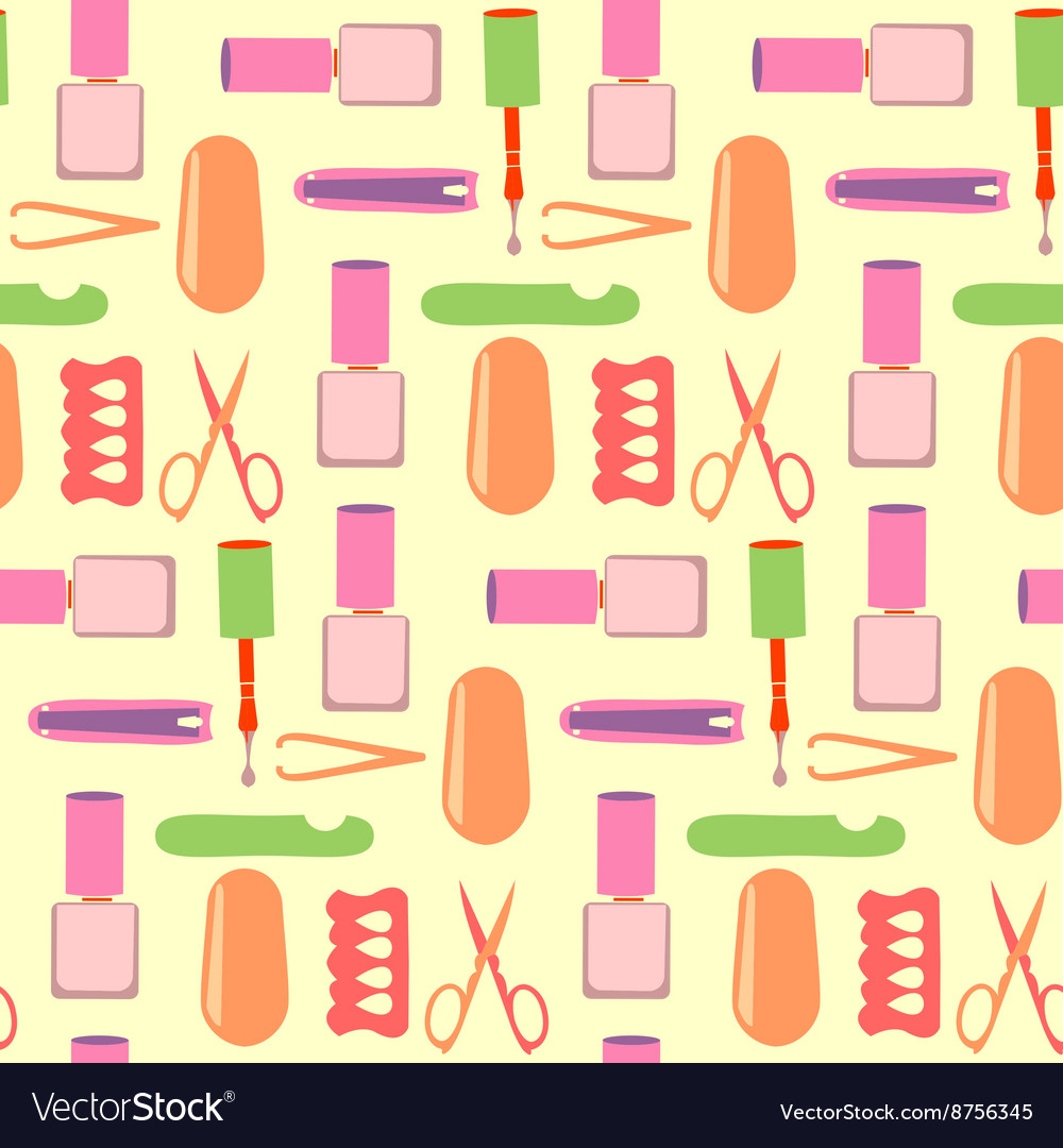 Pattern nails art beauty salon vector