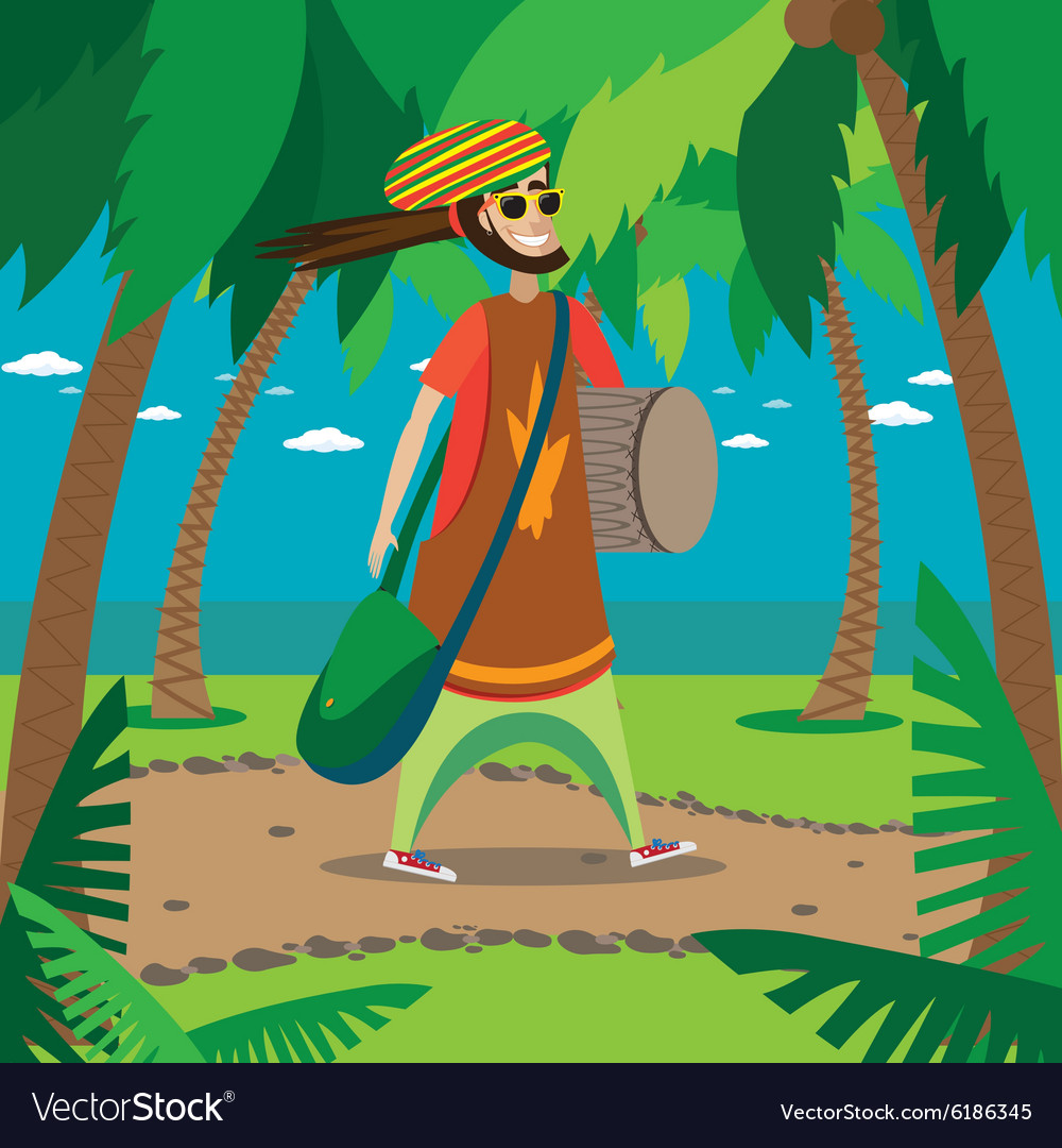 Rasta man walking vector