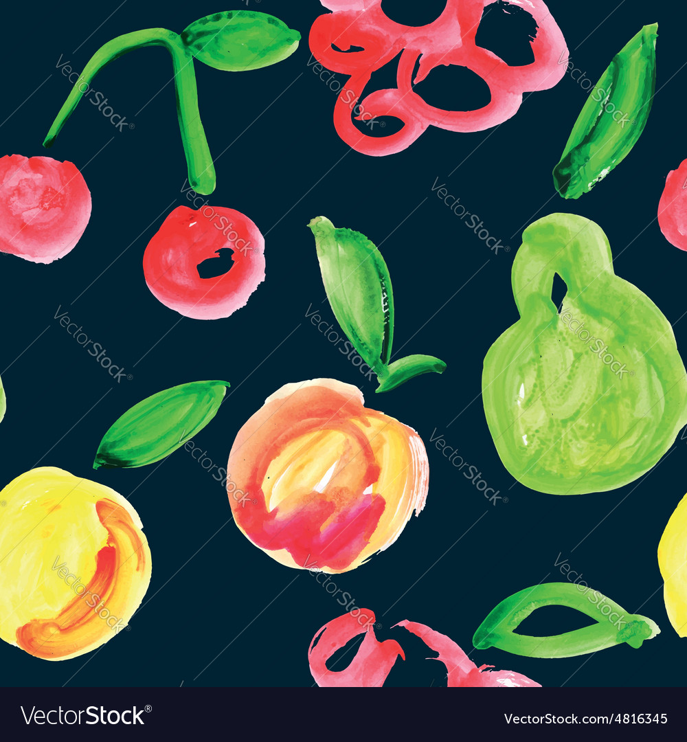 Seamless pattern of fruit watercolor vector