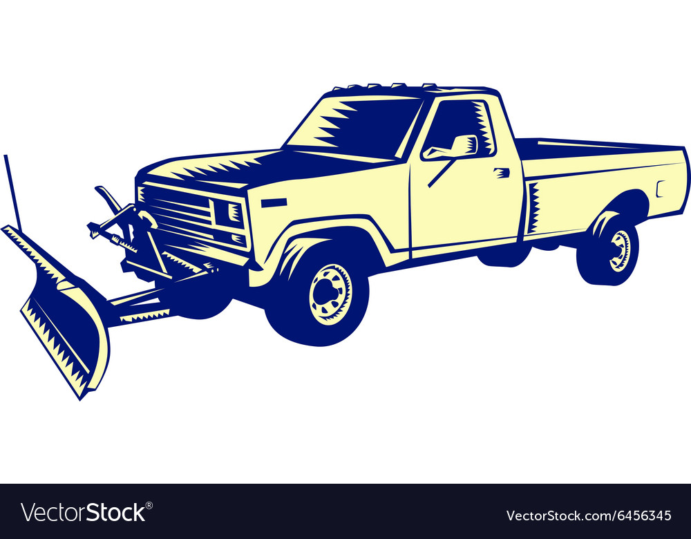 Snow plow truck woodcut vector