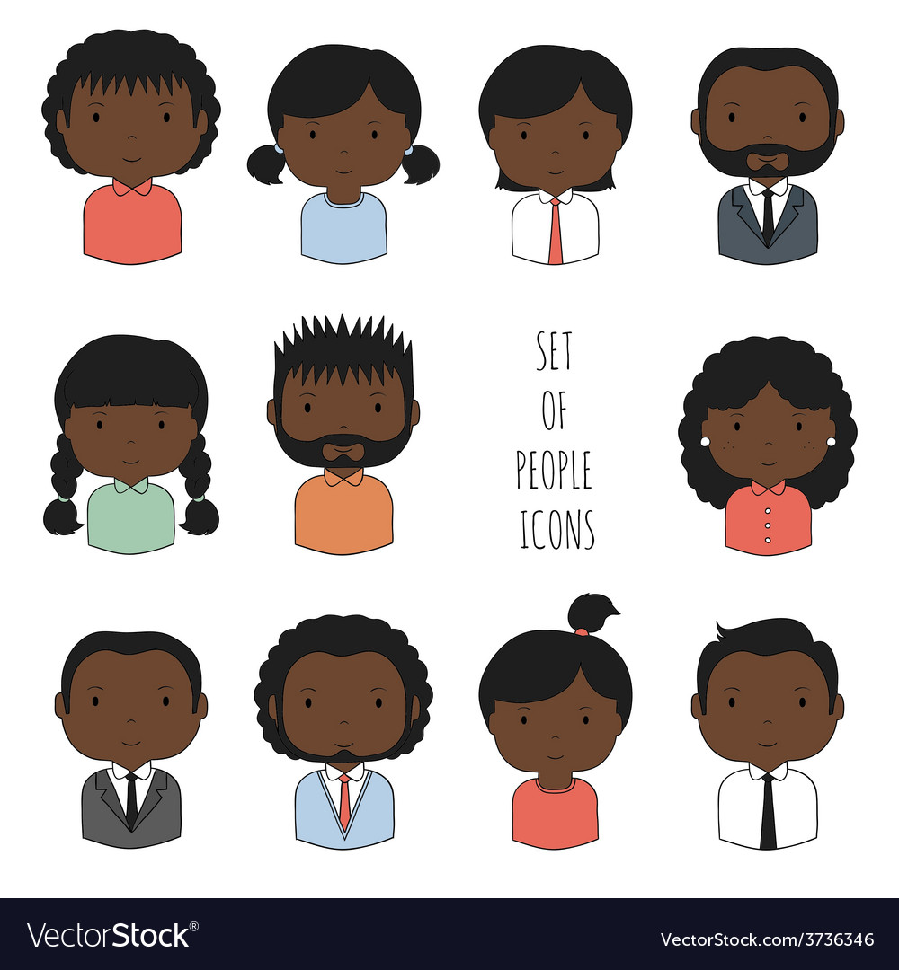 Set of colorful africanamerican people icons vector