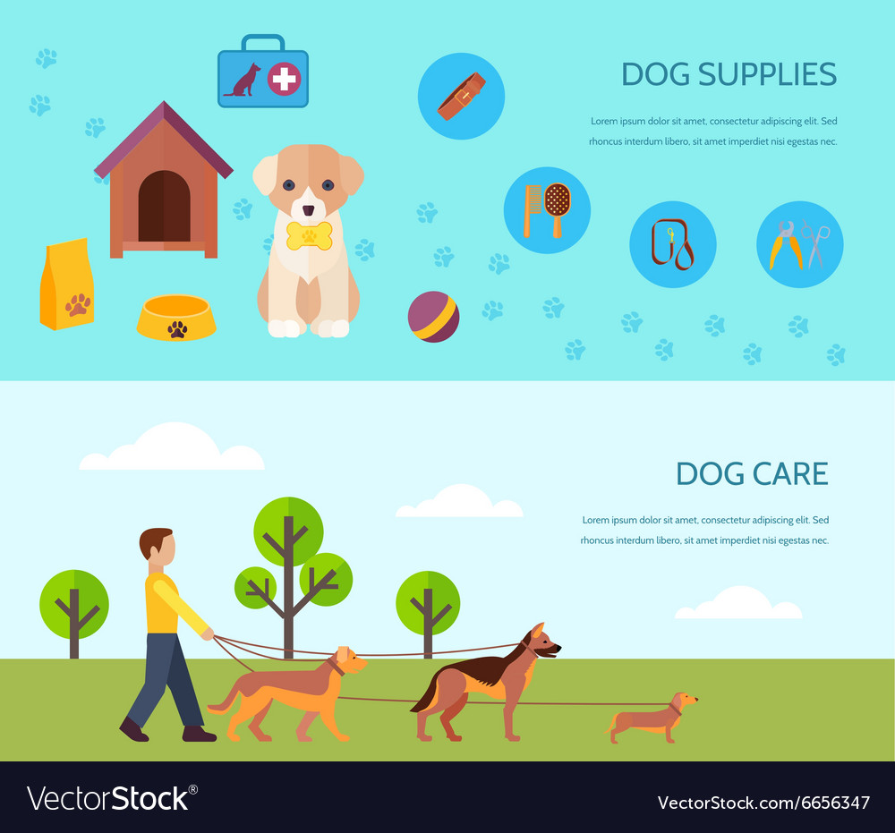Dog 2 flat horizontal banners composition vector